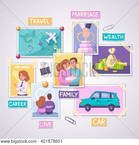 Vision Board Planner Cartoon Concept With Wealth And Travel Symbols Vector Illustration