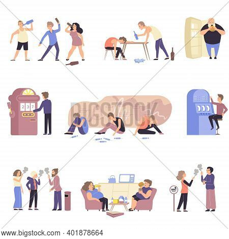 Flat And Isolated Addiction Icon Set With Different Types Of Addict Alcoholism Drug And Gambling Add