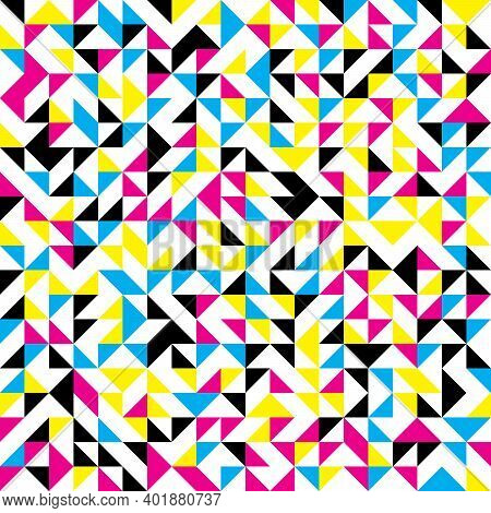Abstract Mosaic Of Right Triangles. Cmyk Color Right Triangles Scattered On White Background. Abstra