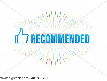 Recommend Icon. White Label Recommended On Blue Background. Vector Stock Illustration.
