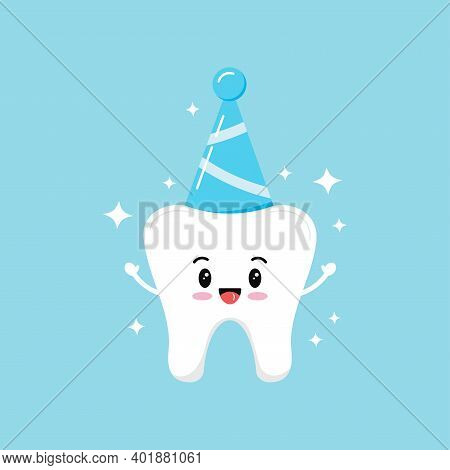 Cute Tooth In Birthday Party Hat Boy Isolated On Background. Sweet And Funny Smiling Teeth Molar. Fl
