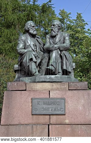 Petrozavodsk, Russia - 14 July, 2014: Monument To Karl Marx And Friedrich Engels In The Capital Of K