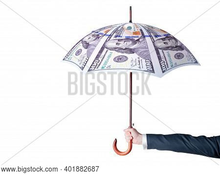 Financial Protection Symbol. A Businessman Holding Umbrella Making From Us Dollars. Financial Securi