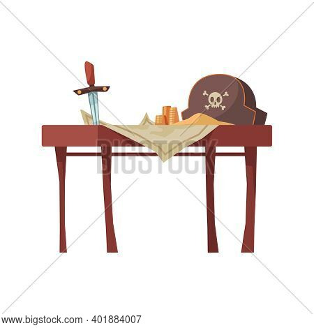 Pirate Composition With View Of Table With Pirate Hat Sword And Paper Map Vector Illustration
