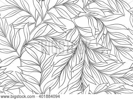 Floral Seamless Pattern, Background In Art Nouveau Style, Vintage, Old, Retro Style. Outline Vector