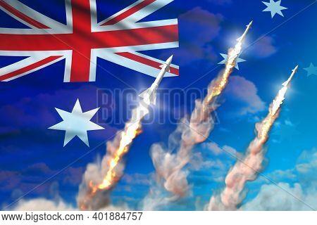 Australia Nuclear Warhead Launch - Modern Strategic Nuclear Rocket Weapons Concept On Blue Sky Backg