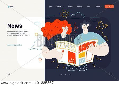 Business Topics - News, Web Template, Header. Flat Style Modern Outlined Vector Concept Illustration