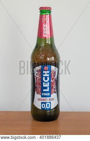 Pruszcz Gdanski, Poland - October 15, 2020: Lech Alcohol Free Pomegranate And Acai Flavor.