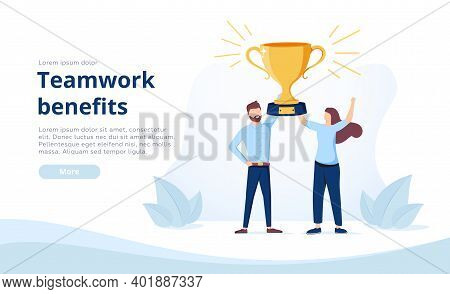 Landing Page Template With Man And Woman Holding Golden Winners Cup Or Prize Together. Concept Of Be