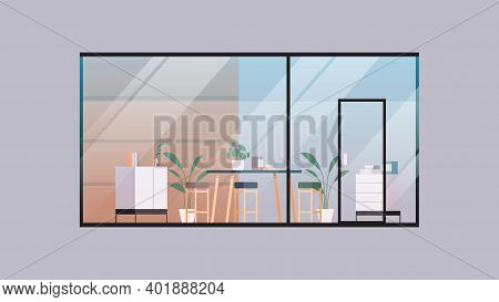 Empty Coworking Center Modern Office Room Interior Open Space With Furniture Behind Glass Window Hor