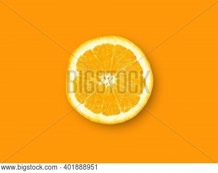 Orange Fruit. Round Orange Slice Isolate On Orange Background. Top View, Flat Lay.