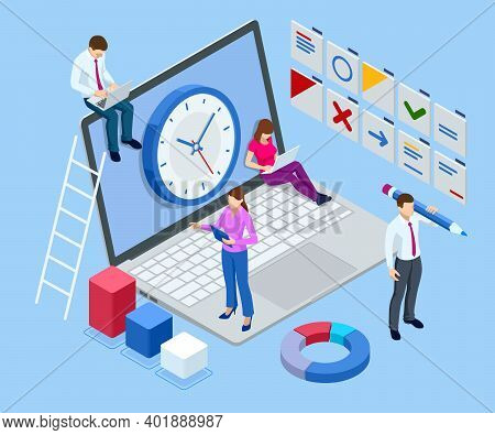 Isometric Time Management, Quick Reaction Awakening And Planning And Strategy Concept. Time Manageme