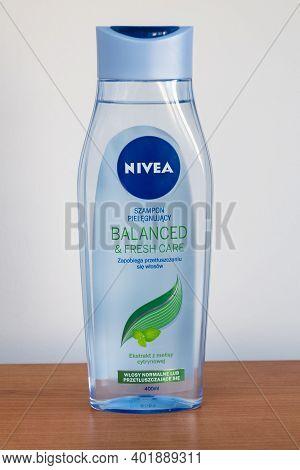 Pruszcz Gdanski, Poland - September 4, 2020: Nivea Balanced And Fresh Care Shampoo.