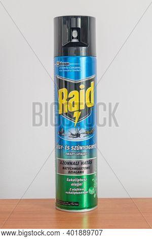 Pruszcz Gdanski, Poland - September 13, 2020: Raid Spray Can Of Housefly Killer.