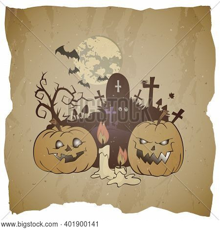 Vector Halloween Illustration With Grinning Pumpkins, Cemetery And Candle On Grunge Background.
