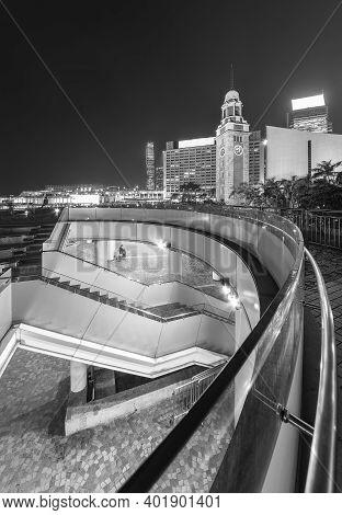 Seaside Promenade Of Victoria Harbor Of Hong Kong City