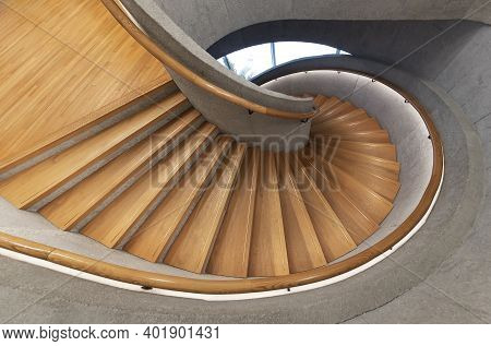 Modern Spiral Staircase. Contemporary Architecture Abstract Background