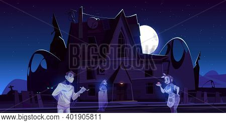 Scary Old House With Ghosts And Cemetery At Night. Vector Cartoon Landscape With Spooky Haunted Mans