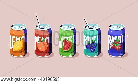 Soda Cans Set, Cold Fruit Drinks Of Various Flavors Lemon, Peach, Watermelon And Blueberry And Raspb