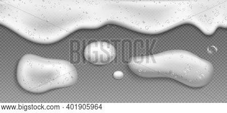 Soap Foam With Bubbles, White Suds Of Detergent, Cleaning Gel Or Shampoo Isolated On Transparent Bac