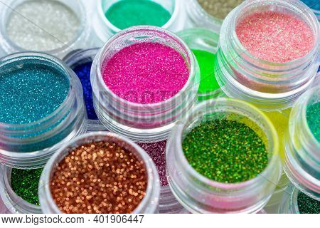 Trendy Multicolored Glitter In Jars. Shimmer, Sparkle For Makeup And Manicure. Bright Shiny Powder,
