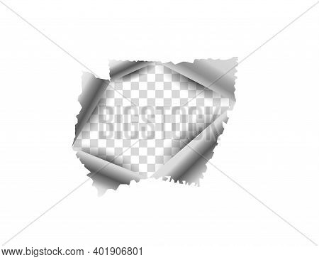 Pape, Torn Hole In The Sheet Vector Illustration.