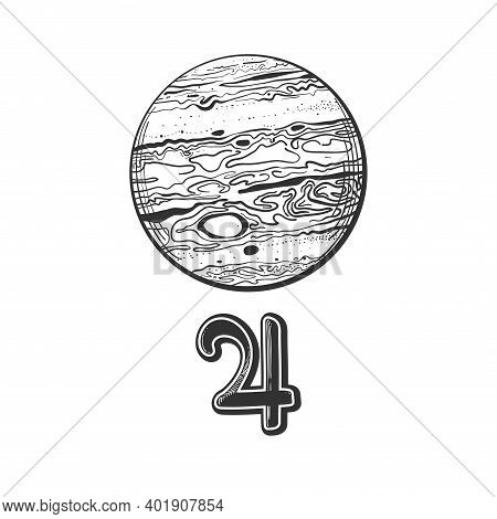 Planet Jupiter With Astrological Sign, Linear Hand Drawing Isolated On White Background. Symbol For