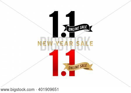 1.1 Sale, 1.1 Online Sale, New Year Sale, Golden Ribbon Black And Red Color Isolated White Backgroun