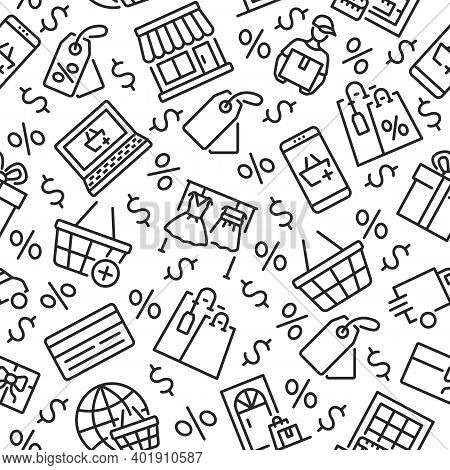 Online Shopping Seamless Pattern With Flat Line Icon.