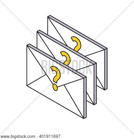 Three Unread Messages With Question Marks Isometric Icon 3d Vector Illustration