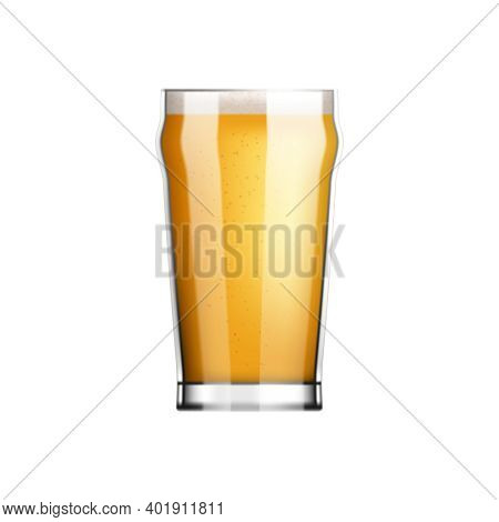 Beer Realistic Composition With View Of Glass Filled With Light Lager Beer Vector Illustration