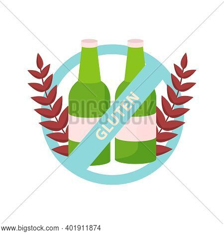 Lactose Gluten Intolerance Diet Composition With Bottles Of Beer And Prohibition Sign Vector Illustr