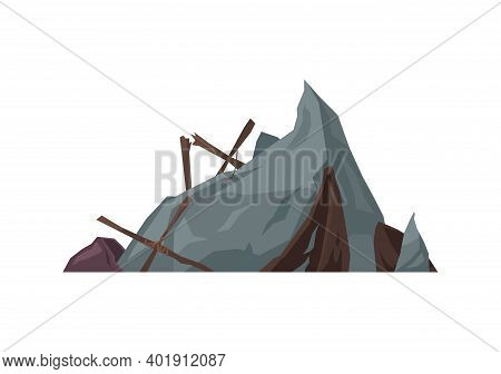 Pirate Composition With View Of Rock Cliff And Wooden Pieces Of Shipwreck Vector Illustration