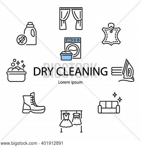 Circle Banner Dry Cleaning And Laundry Service With Flat Line Icons. Template For Laundry Any Text C