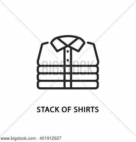 Stack Of Folded Mens Shirts Flat Line Icon.