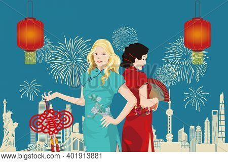 Young Caucasian And Asian Women In Traditional Chinese Clothing (qi Pao) Celebrating Lunar New Year