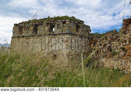 Medieval Abandoned Pniv Castle, Nadvirna City, Ivano-frankivsk Region, Western Ukraine.  Wall Of For