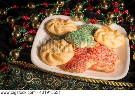 Cookies For Santa. Sugar And Butter Christmas Cookies With Green And Red Sprinkles.
