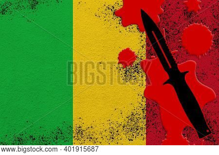 Mali Flag And Black Tactical Knife In Red Blood. Concept For Terror Attack Or Military Operations Wi