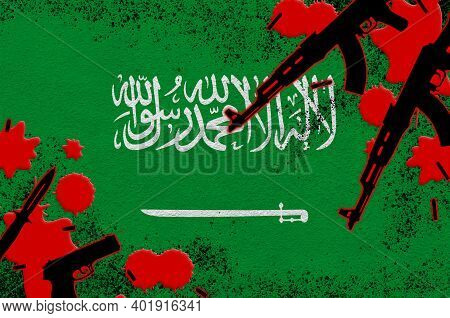 Saudi Arabia Flag And Guns In Red Blood. Concept For Terror Attack And Military Operations. Gun Traf