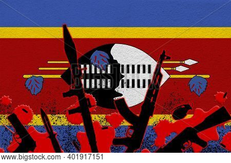 Swaziland Flag And Various Weapons In Red Blood. Concept For Terror Attack Or Military Operations Wi