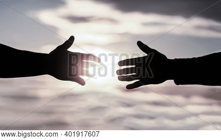 Help Concept. The Outstretched Hands, Salvation, Help Silhouette, Concept Of Help. Giving A Helping
