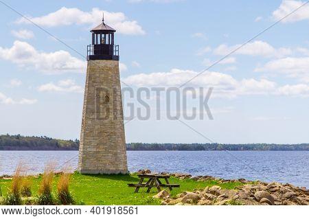 Lake Michigan Lighthouse. Lighthouse On The Coast Of Lake Michigan In Gladstone, Michigan. Gladstone