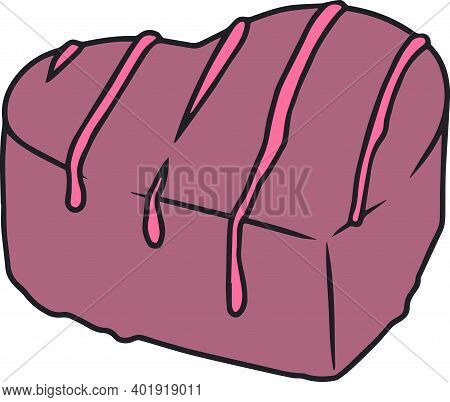 Heart Shaped Milk Chocolate Praline With Pink Strawberry Glazing Drawn Vector Illustration
