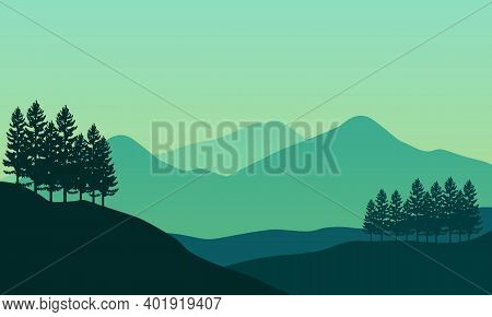 Nice Scenery Of Trees And Mountains In The Morning. City Vector
