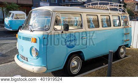 Bordeaux , Aquitaine  France - 12 28 2020 : Vw Bus White Blue Vintage Volkswagen Campervan Model Van