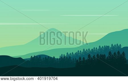 Amazing Mountains Scenery At Sunrise In The Morning. City Vector