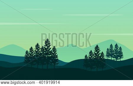 Beautiful Nature Scenery At Sunrise On The Morning Bright. City Vector