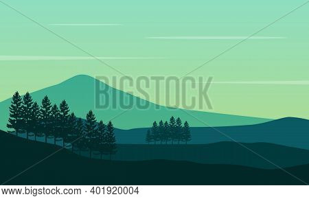 Beautiful View Of Trees And Mountains In The Countryside. City Vector