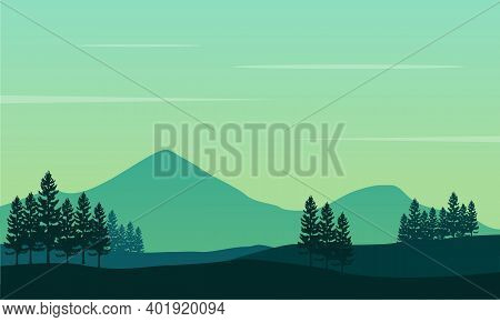 Nice Scenery Of Trees And Mountains View In The Morning. City Vector